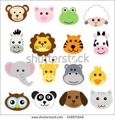Vector illustration of animal faces - stock vector
