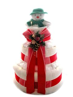 3 Tier Snowman themed Christmas nappy cake by www.makeanappycake.co.uk