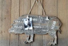 Butcher Charts Wall Hanging With Clips - Pig - From Antiquefarmhouse.com - http://www.antiquefarmhouse.com/current-sale-events/last-call2/message-board-pig.html