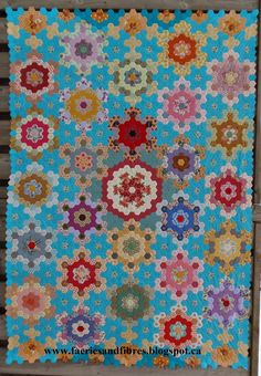 Faeries and Fibres: Lozagons Quilt Top without border --  Karen really cranks out the EPP quilt tops!!