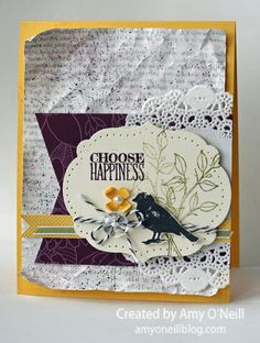 Choose Happiness, Stampin Up! by Amy O'Neill choose blackberry happiness Scrapbooking, Scrapbook Cards, Bird Cards, Choose Happiness, Cards For Friends, Card Tags, Paper Cards, Blank Cards, Cool Cards
