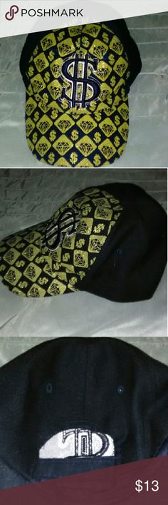 Stylish Money $ign Curved Brim Cap Gold & Black Money $ign Cap/Hat, Curved Brim, Adjustable Velcro back Strap, Great Condition. Accessories Hats