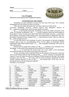 Stonehenge Worksheet - Free Esl Printable Worksheets Made By images ideas from Best Worksheets Collection Reading Comprehension Activities, Reading Worksheets, Vocabulary Worksheets, Reading Passages, Printable Worksheets, Vocabulary Exercises, Listening Activities, Vocabulary Activities, Preschool Worksheets
