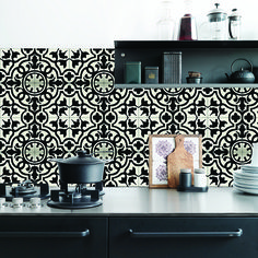 KitchenWalls backsplash wallpaper CEMENT TILE black white