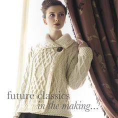 Women's Irish Cardigans made from Traditional Irish Aran Stitch Patterns and Merino Wool. Cardigan Sweaters For Women, Wool Sweaters, Cardigans For Women, Knitting Sweaters, Cable Sweater, Traditional Irish Clothing, Knitted Coat, Comfortable Outfits, Crochet