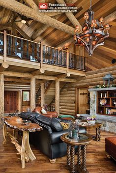 Log Home Great Room & Loft + Wicked furniture and lights! Ah, finally, a fantastic mix of rustic log and modern designs. Log Cabin Living, Log Cabin Homes, Cabin Loft, Log Cabins, Rustic Cabins, Rustic Homes, Western Homes, Log Home Interiors, Log Home Decorating