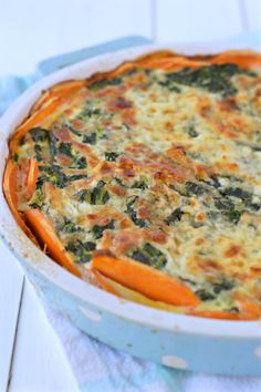 This Sweet Potatoes Crusted Spinach Quiche is  Flourless, and makes a Quick…