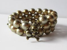 Skull Charm Wrap Bracelet with Vintage Faux Pearl Beads Memory Wire Bracelet by artsix on Etsy