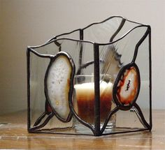 Clear Stained Glass Candle Holder with Brown and Red Agate Stones