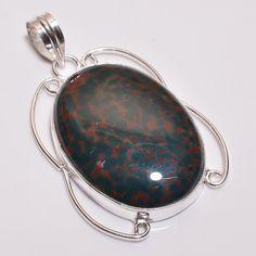Gorgeous Blood Stone .925 Silver Handmade Designer Pendant Jewelry R1774 #Handmade