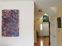 I am so excited! My client who has bought several of my paintings has sent me photos of the actual artworks in his home. All the Jackson Pollock inspired drip paintings are my creations. I am so ecstatic. He has been a joy to work with. A kind person, who appreciates my art! He even wrote a testimonial about my artwork and professionalism. This makes all my hard work worth it. I am so grateful to have a patron such as he. It makes such a difference and a joy to have people write nice things…