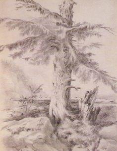 Pencil drawing by Emily Brontë, 1842