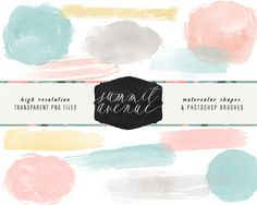 Watercolor Shape Brushes by Summit Avenue on @creativemarket