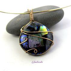 Saturn's Nemesis Dichroic Glass Pendant - Brass Wire Wrapped Jewelry | Umeboshi - Jewelry on ArtFire