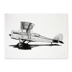 Beautiful vintage airplane in black and white 5'x7