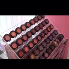 Great way to store eyeshadows; nailpolish rack. Can someone tell me where I can get a nail polish rack????