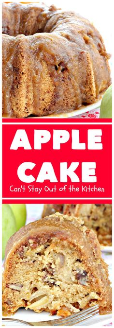 Apple Cake Can t Stay Out of the Kitchen This fantastic apple cake is filled with apples pecans glazed with a homemade caramel icing It s absolutely divine We serve it for breakfast as a coffeecake or for dessert applecake appledessert Apple Cake Recipes, Apple Desserts, Dessert Recipes, Apple Pecan Cake Recipe, Apple Bundt Cake Recipes, Apple Cakes, Food Cakes, Cupcake Cakes, Cupcakes