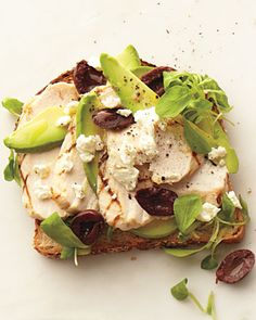 grilled chicken, avocado, kalamata olives, feta on whole grain toast • whole living