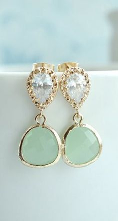 Light Mint Glass Pear Gold Earrings