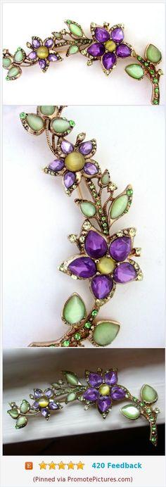 "MONET Purple Flowers Green Leaves Brooch, Long Curvy, Moonglow Rhinestones, Vintage 4""\ #brooch #long #monet #floral #purple #green https://www.etsy.com/renaissancefair/listing/567592741/monet-purple-flowers-green-leaves-brooch?ref=listings_manager_grid  (Pinned using https://PromotePictures.com)"