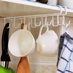 12 Hooks/PCS Multifunctional Cupboard Hanging Hook Shelf Dish Hanger Hook Kitchen Hanger Chest Storage shelf Bathroom Shelves