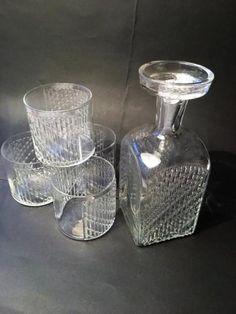 Nanny Still FLINDARI-karahvi+lasit, Riihimäen Lasi Lassi, Glass Design, Finland, Mid-century Modern, Glass Art, Nostalgia, Mid Century, Ceramics, Dishes