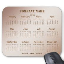 Brown Business Promotional Company 2018 Calendar Mouse Pad
