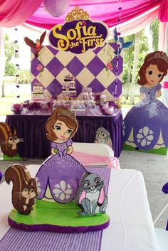Sofia the First Birthday Party backdrop and dessert table! See more party… Sofia The First Birthday Party, Frozen Birthday Theme, First Birthday Parties, First Birthdays, Frozen Theme, 5th Birthday, Birthday Ideas, Princess Sofia Party, Princess Sofia The First