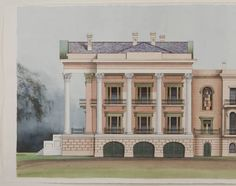 Southwest elevation of Belle Grove Plantation House :: Painting in Louisiana from the Historic New Orleans Collection Old Mansions, Abandoned Mansions, Abandoned Buildings, Abandoned Places, Abandoned Plantations, Louisiana Plantations, Louisiana Homes, Southern Plantation Homes, Plantation Houses