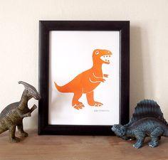 Dinosaur Trex Print Boys Room Art Dino Wall Art by helloDODOshop, £5.00