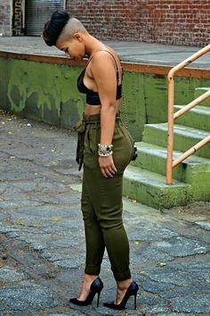Black Girls Killing It So edgy I'd definitely go for it and again stilettos a girls best friend! :) THE PANTS Tomboy Fashion, Fashion Killa, Look Fashion, Girl Fashion, Womens Fashion, Fashion Pants, Fashion Black, Streetwear Fashion, Fashion Styles