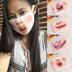 Cute 3D Funny Expression Cotton Mouth Face Mask Health Cycling Respirator Warm #Unbranded