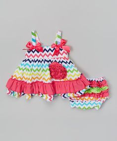 Look what I found on #zulily! Rainbow Zigzag Swing Tank & Diaper Cover - Infant by Jelly Bean #zulilyfinds