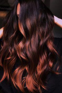 Balayage Hair Copper, Auburn Balayage, Hair Color Balayage, Hair Highlights, Dark Copper Hair, Dark Red Balayage, Dark Hair Balyage, Dark Brunette Balayage Hair, Haircolor