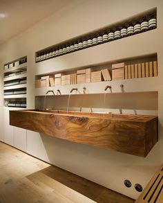 Aesop Bibliotekstan by In Praise of Shadows. They used dead wood from a Stockholm park in first Swedish Aesop store Retail Interior, Interior And Exterior, Interior Design, Design Commercial, Commercial Interiors, Aesop Store, In Praise Of Shadows, Vanity Shelves, Planks