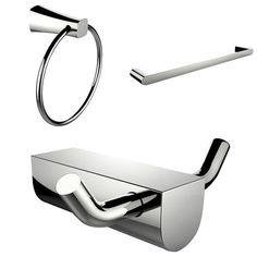 American Imaginations AI-13671 Modern Towel Ring Single Rod Towel Rack and Robe Hook Accessory Set
