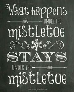What happens under the mistletoe, stays under the mistletoe.