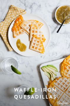 Waffle-Iron Quesadillas. Place a tortilla onto your waffle iron, add shredded cheese and then top with another tortilla. Close the waffle iron and in minutes you'll have the most golden, melty, crispy-edged quesadilla you've ever seen. It's a quick and easy recipe that's perfect for throwing together for hungry kids or adults.