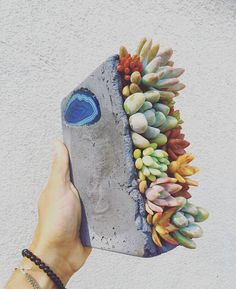 Handcrafted concrete Succulent arrangement with sliced agate