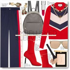 How To Wear Gucci Red Embellished Sleeves Outfit Idea 2017 - Fashion Trends Ready To Wear For Plus Size, Curvy Women Over 20, 30, 40, 50