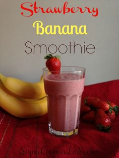 Strawberry Banana Smoothie Recipe! Perfect for a quick, nutritious, need to get out the door breakfast! http://www.supercouponlady.com/2014/01/strawberry-banana-smoothie-recipe.html/