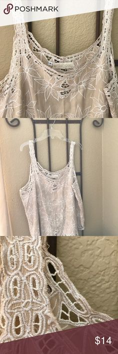 Cute Embroidered Top Free-flowing embroidered Top. Taupe and white. Calypso Tops
