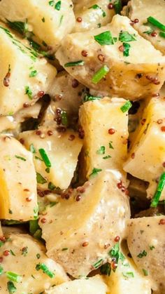 ~ This Potato Salad with Honey Mustard Vinaigrette is made skinny, with just a touch of mayo. It doesn't compromise on flavor, with its tangy, zippy, and yummy honey mustard vinaigrette base. Potato Dishes, Potato Recipes, Vegetable Recipes, Vegetarian Recipes, Cooking Recipes, Healthy Recipes, Vegetable Salad, Salad Bar, Soup And Salad