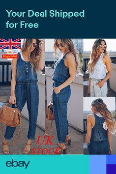 1fb312cef314 UK Womens Summer Denim Jumpsuit Playsuit Ladies V Neck Trousers Party  Holiday
