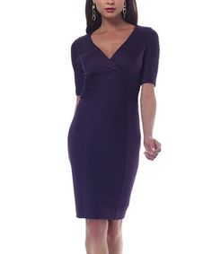 Look at this NUE by Shani Purple Textured Surplice Dress on #zulily today!