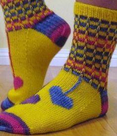 Ravelry: Hippie Heart Socks pattern by Cynthia Levy Crochet Socks, Knitting Socks, Hand Knitting, Knitted Hats, Handmade Bags, Handmade Products, Funky Socks, Fingering Yarn, Yoga Socks