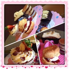 Mothers Day afternoon Tea-Banana & Honey cake, marbled Malteser cupcakes, tiramisu shot pots and brown sugar & Mascarpone scones