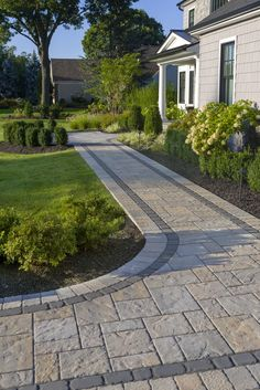 This walkway to front door idea is inspired by our best selling Blu slate textured paver. This paver is packaged separately and can also be used alone for a large-scale herringbone pattern. Front Walkway Landscaping, Front Yard Walkway, Backyard Walkway, Brick Pathway, Outdoor Walkway, Concrete Walkway, Backyard Landscaping, Front Driveway Ideas, Stone Driveway