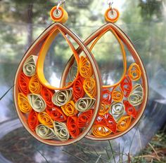 Large Fall Colored Quilled Earring. $20.00, via Etsy.