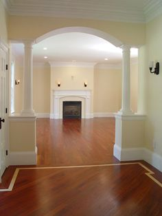 Interior: Columns for dining room entrance Open Kitchen And Living Room, Kitchen And Bath Design, Dining Room, Room Kitchen, Kitchen Dining, Archways In Homes, House Arch Design, Interior Columns, Room Interior